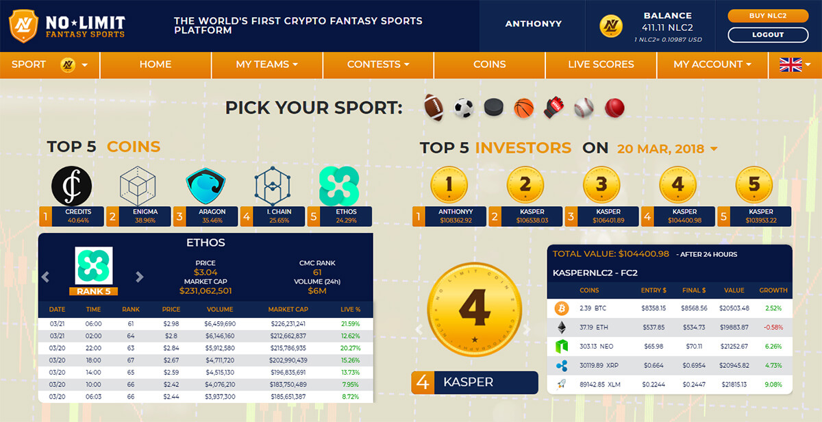 fantasy crypto homepage